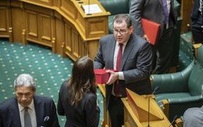 Grant Robertson and Prime Minister Jacinda Ardern enter The House to deliver Budget 2020.