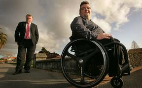 Simon Thurston, 26,(RIGHT) and his father, Lyall Thurston, pictured in Rotorua. Simon has a disability related to a neural tube defect. 