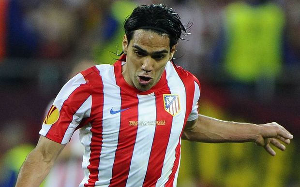The Colombian striker Radamel Falcao playing for Atletico Madrid.