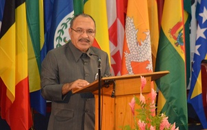 The PNG Prime Minister Peter O'Neill speaking at the SIDS Conference in Samoa.