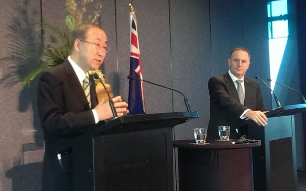 UN Secretary General Ban Ki Moon and Prime Minister John Key in Auckland.