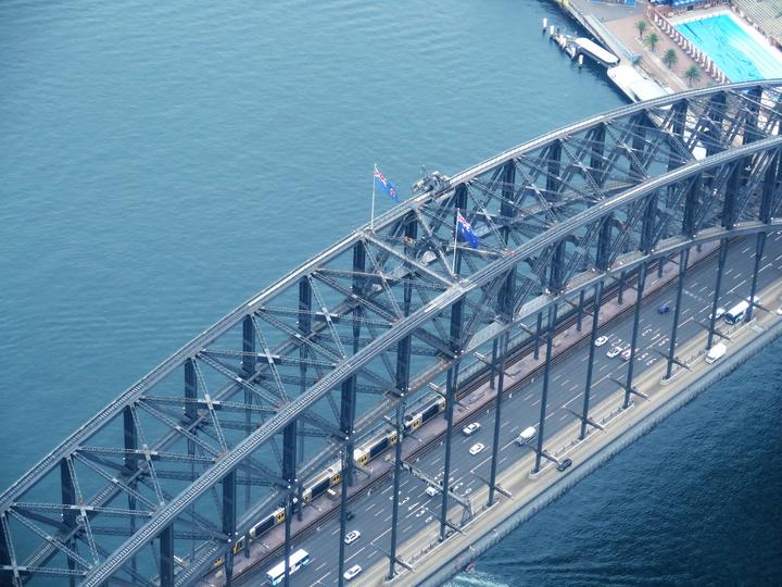 Sydney Harbour Bridge from 1000 feet above.
