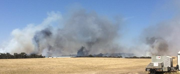 Bush fire close to the runway