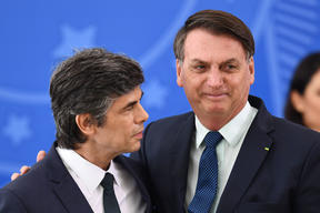 Nelson Teich, left, and  Brazilian President  Jair Bolsonaro during his swearing-in ceremony less than a month ago