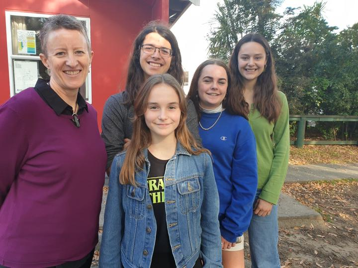 Wellington High School teacher Nicola Dow with students (front) Sophie Leadbetter, (rear from left) Xandi Gobbi, Lily-Mai Parkin and Willow Ashby.