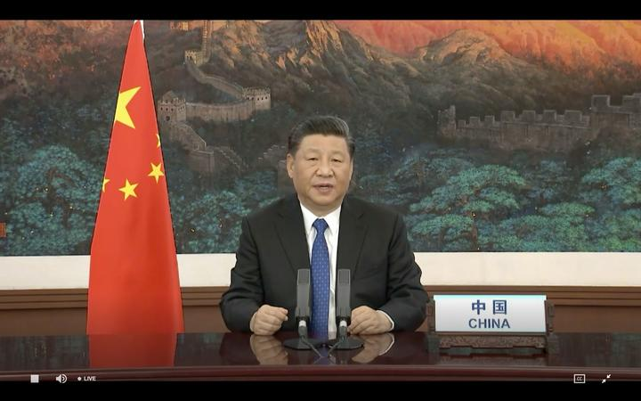 Chinese President Xi Jinping delivers a speech via video link to the opening of the WHO in Geneva