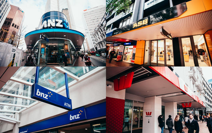 A composite image of New Zealand's four major retail banks - ANZ, ASB, BNZ and Westpac.