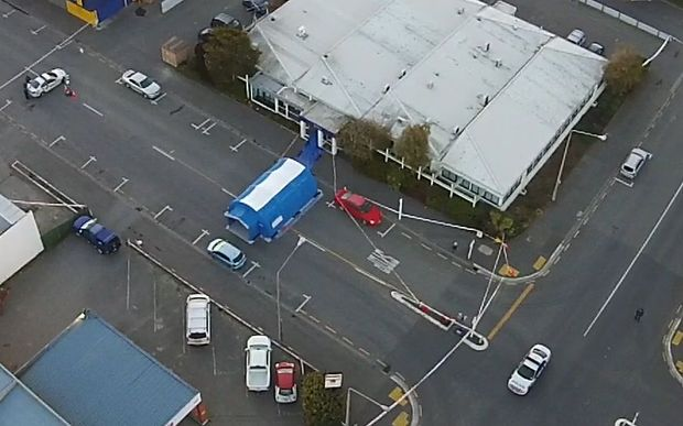 Aerial view of the cordoned off area around the Work and Income offices in Ashburton.