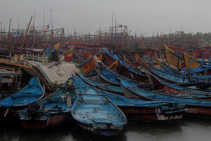 Fishery Boats parked in Dhamra area of Bhadrak district,160 km away from Odisha's capital city as Cyclone 'Amphan' crosses the Bay of Bengal Sea's eastern coast on May 20, 2020.