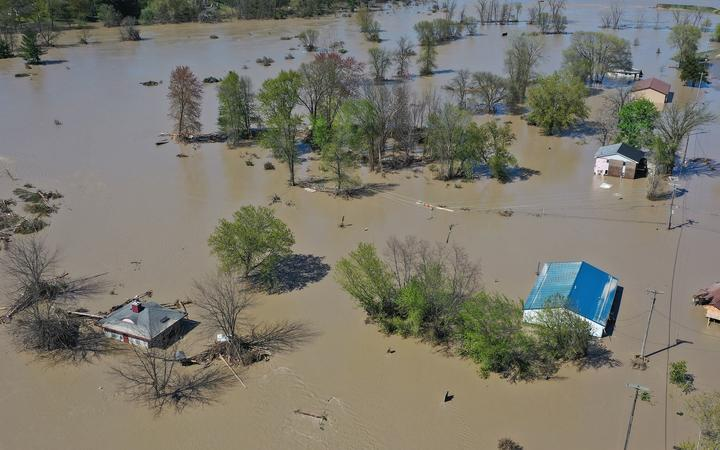 SANFORD, MICHIGAN - MAY 20: Aerial view of the Tittabawassee River after it breached a nearby dam on May 20, 2020 in Sanford, Michigan.