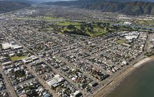 An aerial view of Petone looking north.
