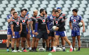 The New Zealand Warriors train at Central Coast Stadium.