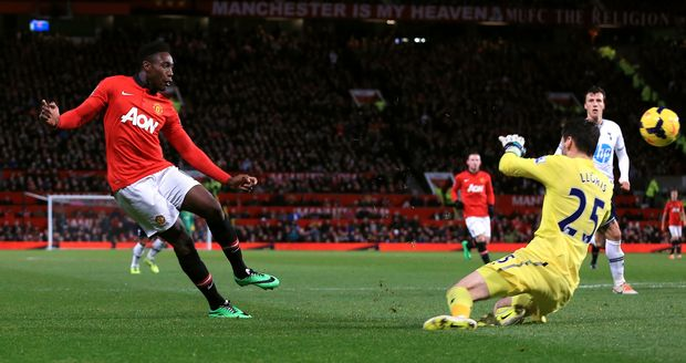 Manchester United's Danny Welbeck scores against Spurs