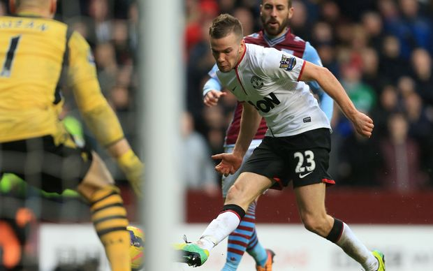 Manchester United's Tom Cleverley scores against Aston Villa.