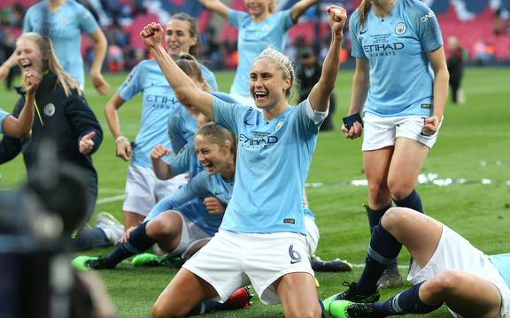 2019 Womens FA Cup Final - Manchester City Women v West Ham United Ladies - Steph Houghton of Man City celebrates.