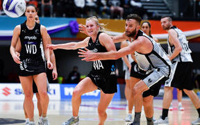 Silver Ferns Shannon Saunders (L) and NZ Men's Jamie Brown (R). Silver Ferns v NZ Men, Bruce Pulman Arena, Auckland, New Zealand. 27 June 2019.