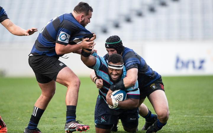 Marist prop Taniela Koroi in action against Ponsonby, during the Auckland Rugby Union Gallaher Shield final 2019.