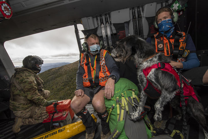 Defence Force helicopter assists NZ Police and LandSAR with a search and rescue operation to find two missing trampers in the Kahurangi National Park.