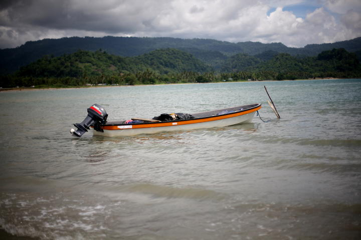 A Prao or traditional Melanesian boat at the town of Vanimo in Papua New Guinea near the border with Indonesian-controlled West Papua.