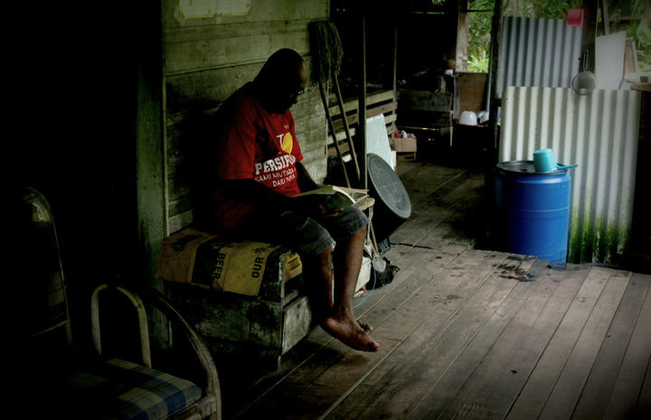 Sonny Saba at his home in the border town of Vanimo, Papua New Guinea.