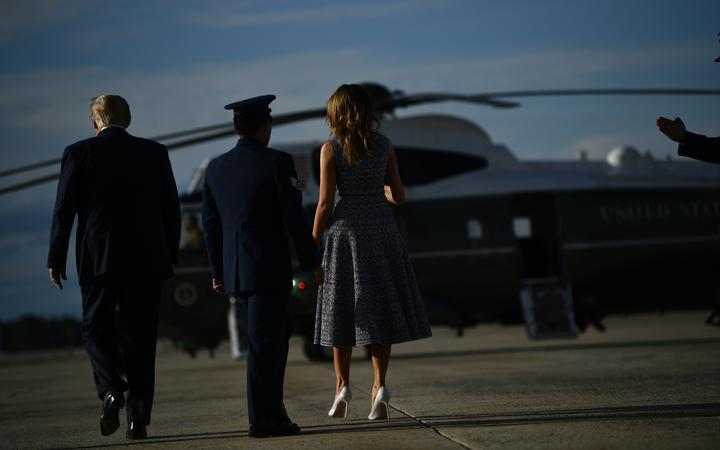 US President Donald Trump and First Lady Melania Trump return to Joint Base Andrews in Maryland on 27 May, 2020, after visiting Kennedy Space Center in Florida.