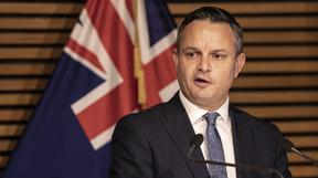 Climate Change Minister James Shaw at a press conference announcing the Government's reforms to clean up our  waterways, Beehive Theatrette, Wellington.