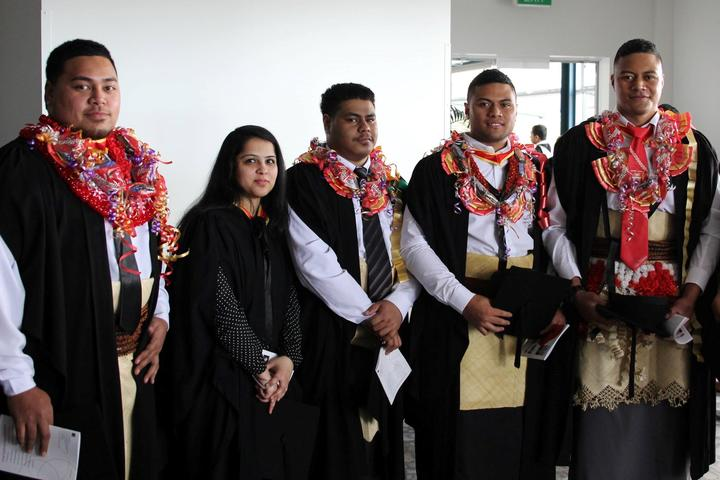 Tongan graduates from Auckland Institute of Studies. They have come through via the Tonga TIHE (Tonga Institute of Higher Education) pathway.