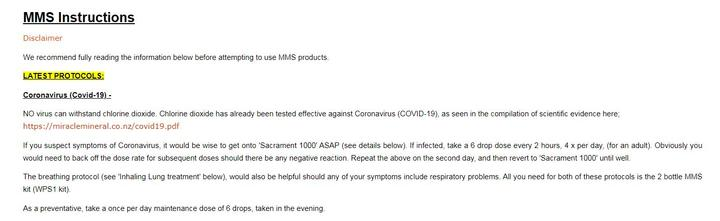 A screengrab of the Miracle Mineral Solution website's Covid-19 instructions