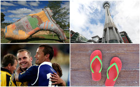 From top left to bottom right: The Taihape gumboot, the Auckland SkyTower, former All Blacks Christian Cullen and Carlos Spencer and jandals.