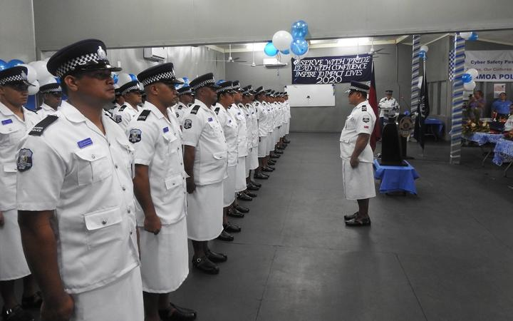The graduating class of police recruits.