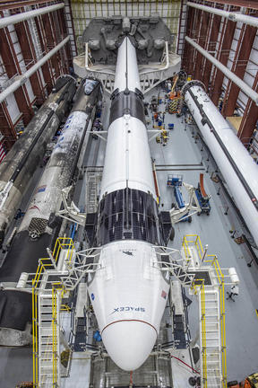 In this image released by Space X, the Crew Dragon spacecraft and the SpaceX Falcon 9 rocket are pictured at Launch Complex 39A on May 21, 2020, as preparations continue for the Demo-2 mission at NASA's Kennedy Space Center in Florida.
