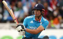 Alastair Cook bats during the third Royal London One Day International between England and India at Trent Bridge, Nottingham. August, 2014.