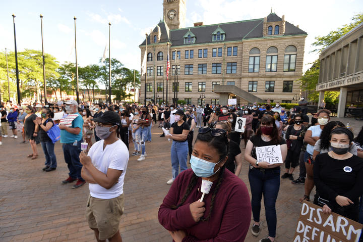 Media said hundreds of people peacefully protested against police brutality outside the police station in Lowell, Massachusetts.