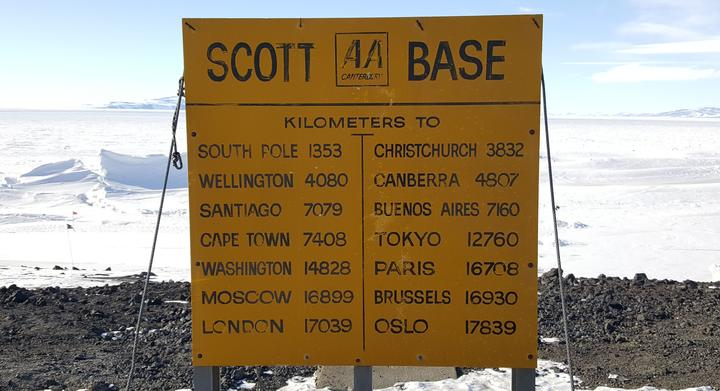 A much-photographed AA sign in front of Scott Base indicating distance to other locations.