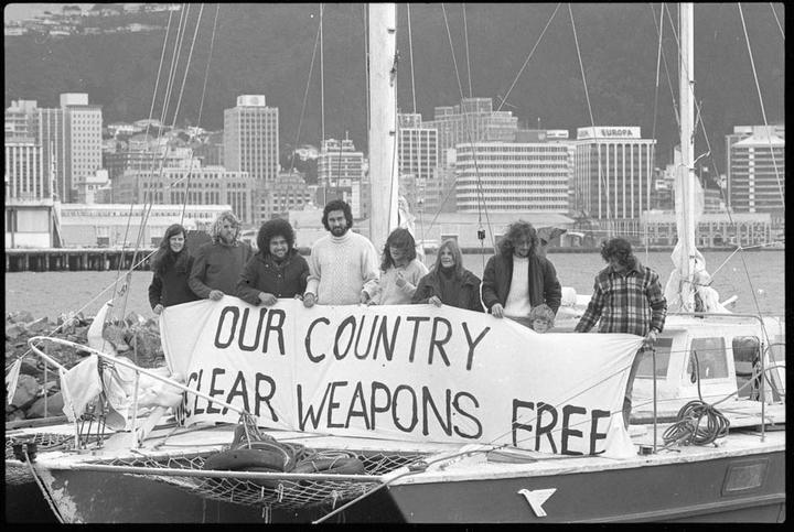 CANWAR protesters on a yacht in Wellington Harbour, protesting against the entrance of American nuclear warships into Wellington, August 1976. From Evening Post