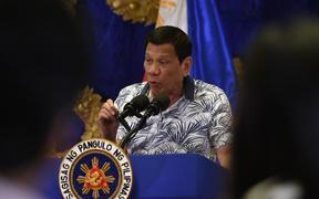 Philippines' President Rodrigo Duterte in November during a late-night press conference at Malacanang Palace in Manila, where he criticised Vice-President Leni Robredo - who has led his anti-drug crackdown - for discussing her work with the UN.