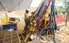 Drilling at the Woodlark Gold Project.
