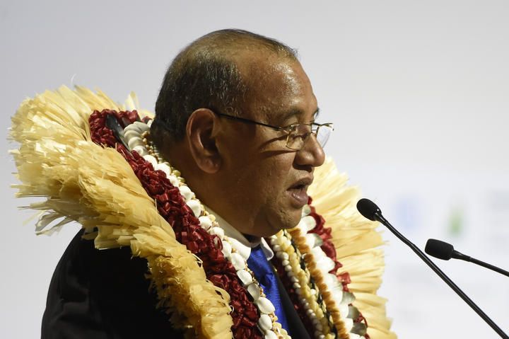 Marshall Islands' President Christopher J. Loeak delivers a speech during the opening day of the World Climate Change Conference 2015 (COP21), on November 30, 2015 at Le Bourget, on the outskirts of the French capital Paris.