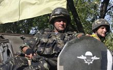 Ukrainian soldiers patrol in the Donetsk region.