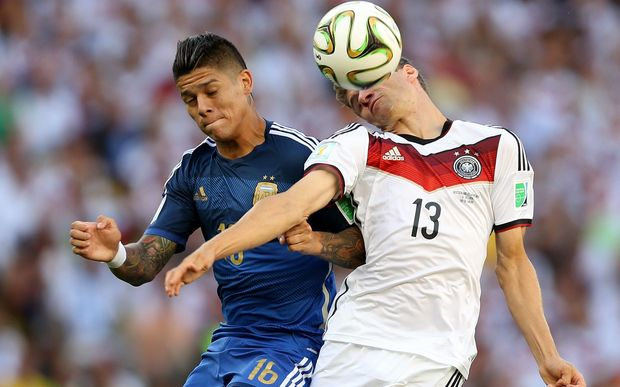 Argentina's Marcos Rojo in action in 2014 World Cup final against Germany.