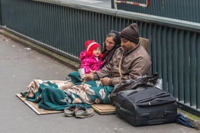A family homeless in Paris. File photo.