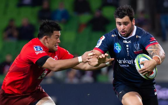 New Highlanders signing Jermaine Ainsley playing for the Melbourne Rebels against the Sunwolves in 2019.