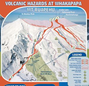 The volcanic hazard map for the Whakapapa ski area shows known lahar paths (marked in red) as well as safe areas on high ground.