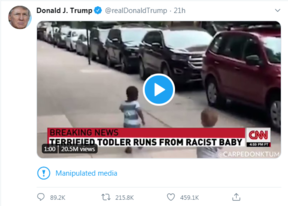 The US president's tweet is now annotated with a warning about the edited video.