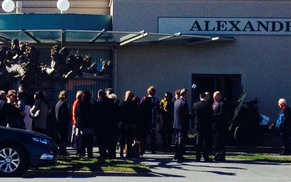 Crowds gather outside the Alexandra District Club for the funeral of Ashburton shooting victim Leigh Cleveland.