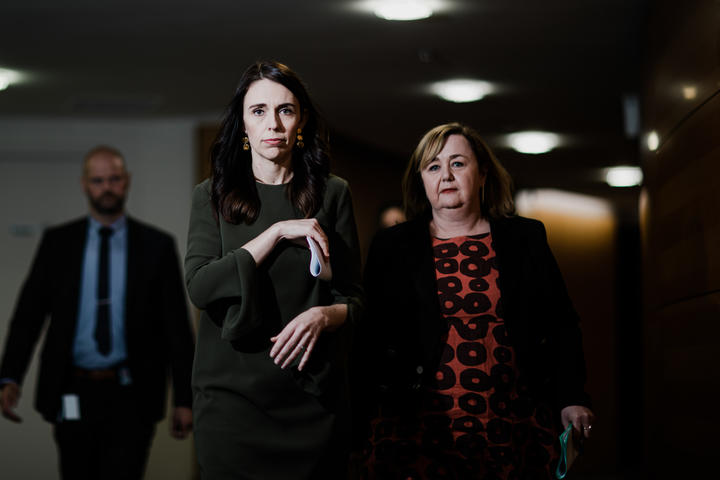 Prime Minister Jacinda Ardern and Housing Minister Megan Woods arrive at a post-Cabinet media briefing.  22/06/20