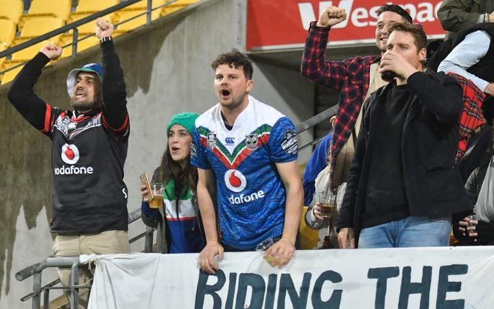Warriors fans during a 2019 game in Wellington.