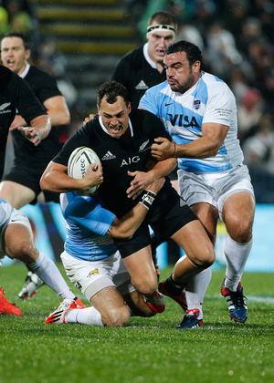 New Zealand's Israel Dagg is tackled during the All Blacks' test match against the Pumas in Napier.
