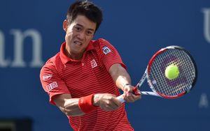 Kei Nishikori during his US Open quarterfinal win over Stan Wawrinka, 2014.
