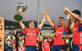 Tasman players celebrate winning the 2019  Mitre 10 Cup Premiership Final.